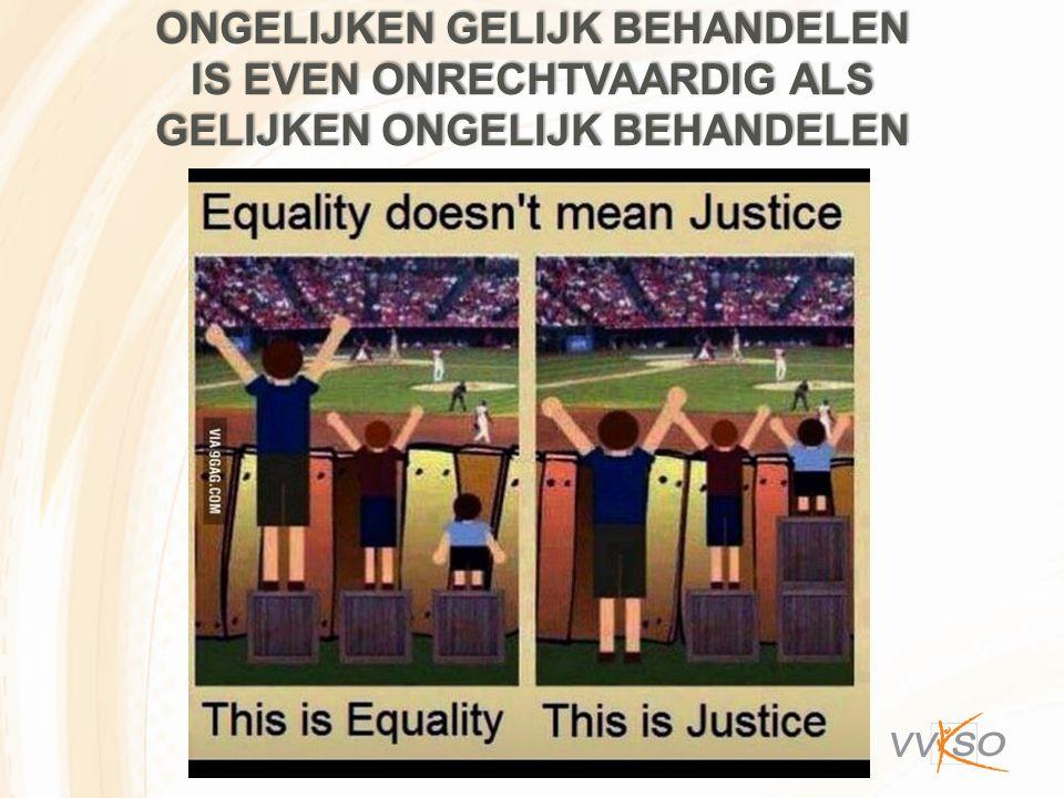 Ongelijken gelijk behandelen is even onrechtvaardig als gelijken ongelijk behandelen