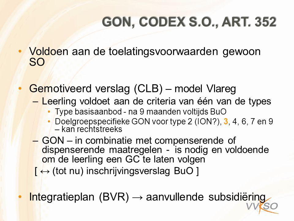 Gon, codex S.O., art. 352 Voldoen aan de toelatingsvoorwaarden gewoon SO. Gemotiveerd verslag (CLB) – model Vlareg.