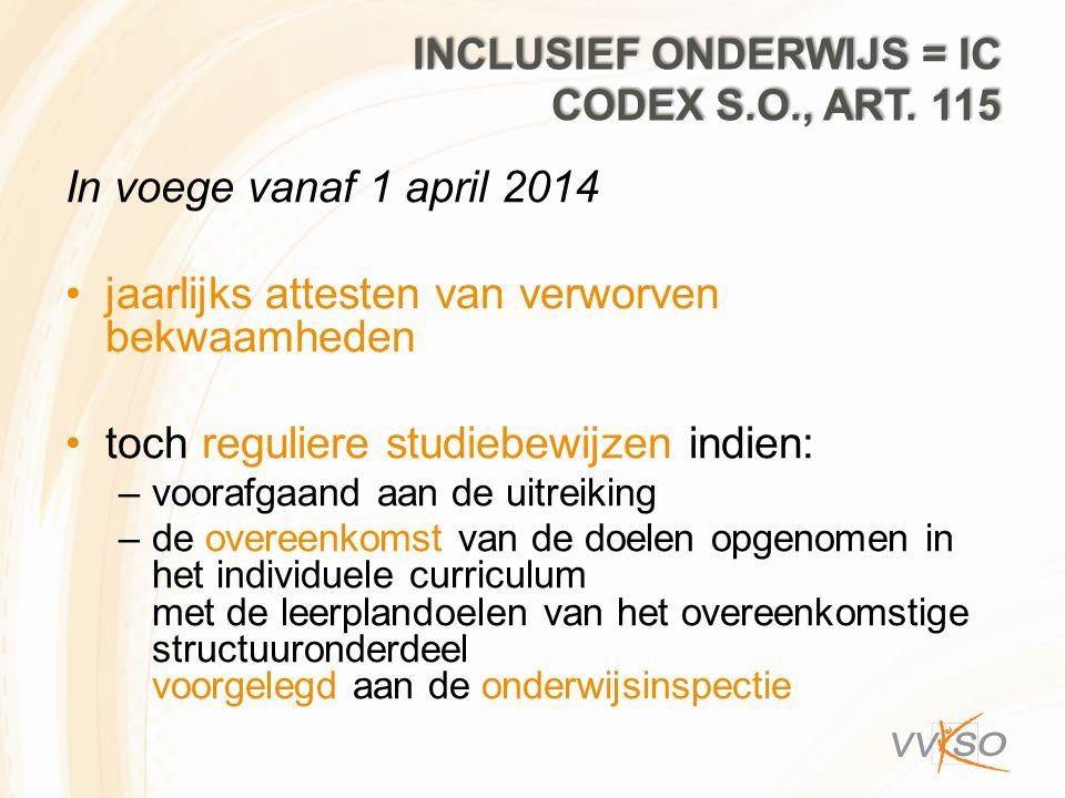 Inclusief onderwijs = IC codex S.O., art. 115