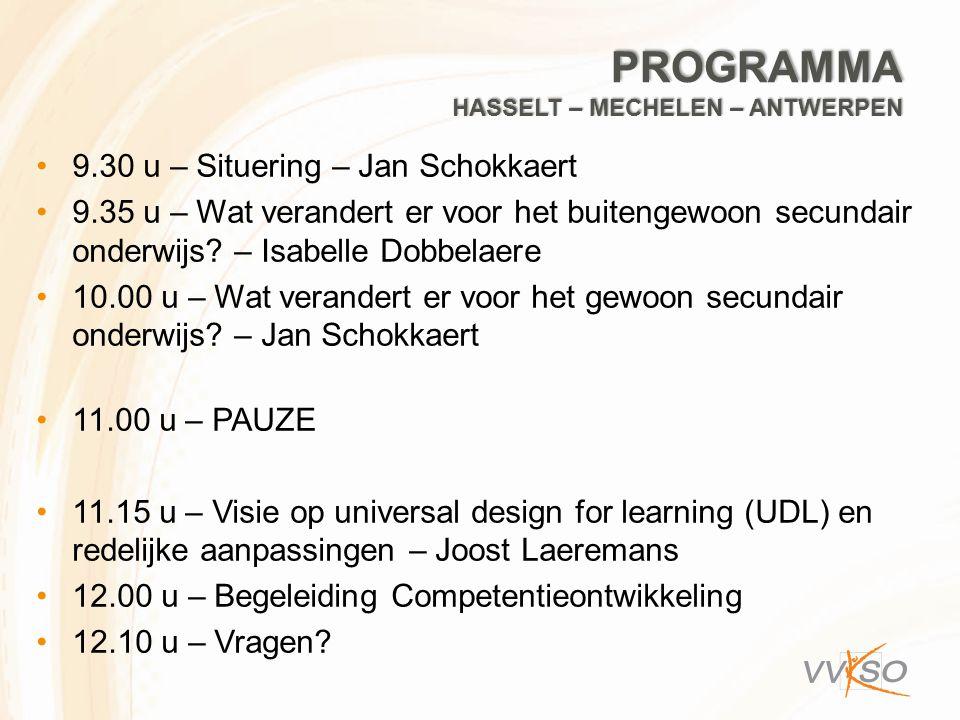 Programma Hasselt – mechelen – antwerpen