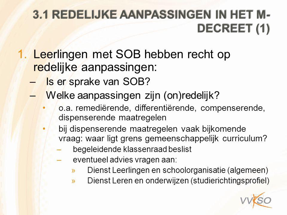 3.1 Redelijke aanpassingen in het M-decreet (1)