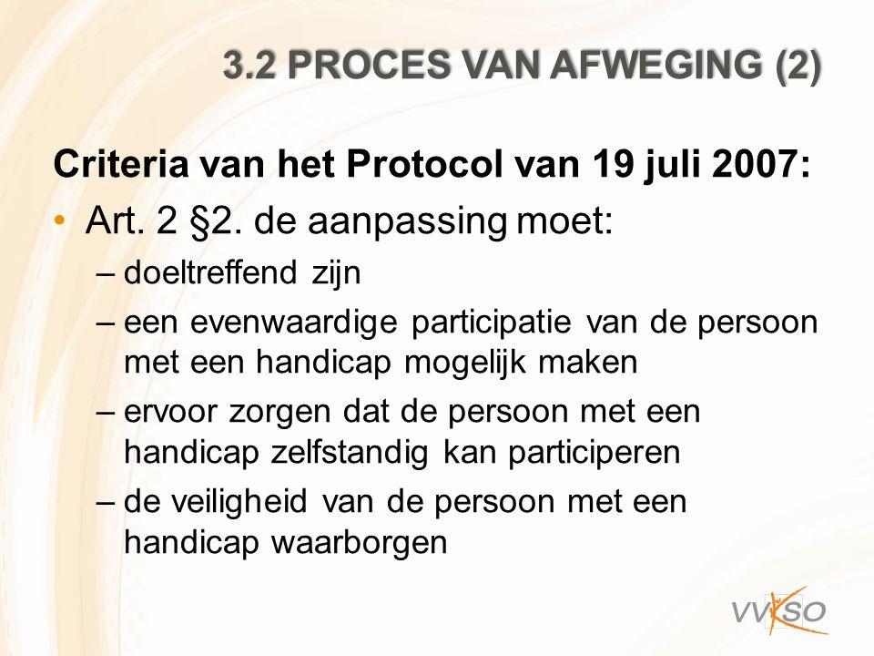 Criteria van het Protocol van 19 juli 2007: