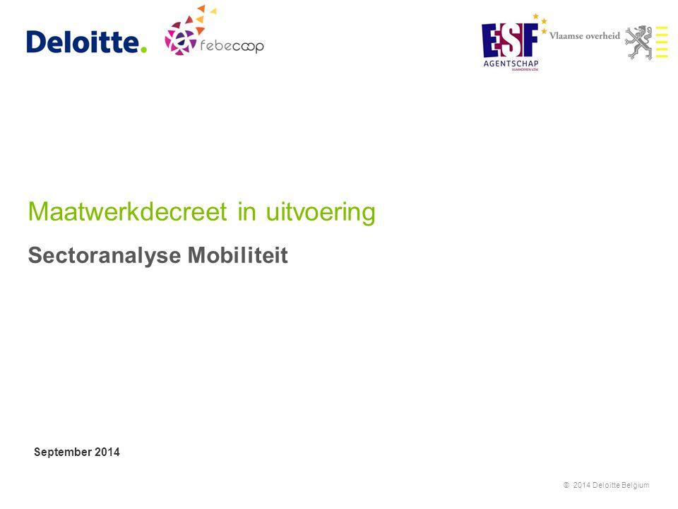 Maatwerkdecreet in uitvoering Sectoranalyse Mobiliteit