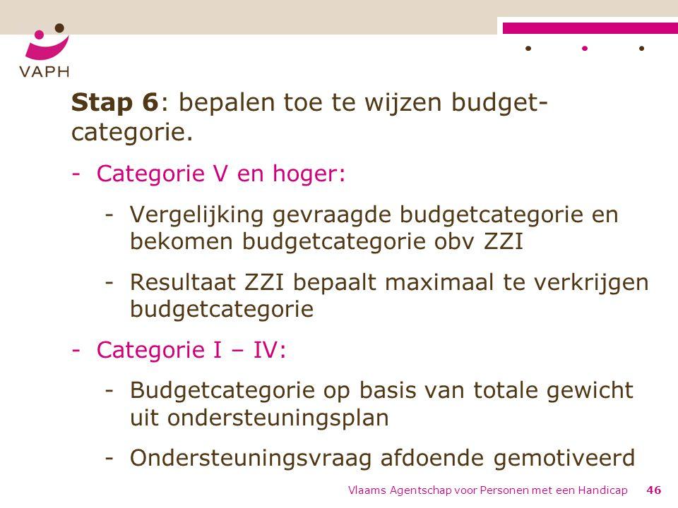 Stap 6: bepalen toe te wijzen budget-categorie.