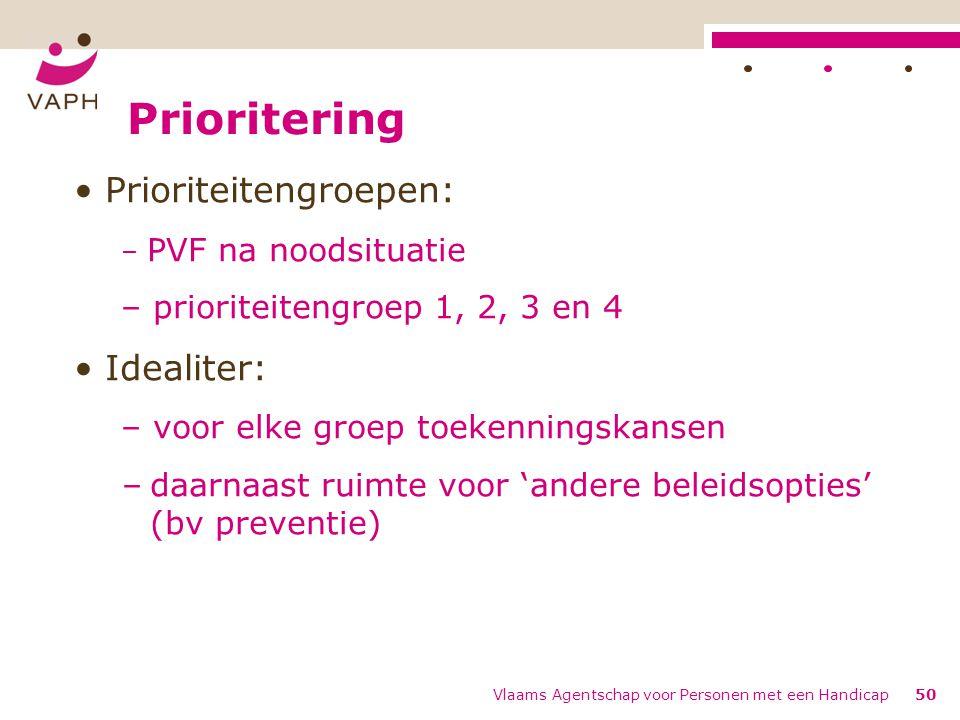 Prioritering Prioriteitengroepen: Idealiter: