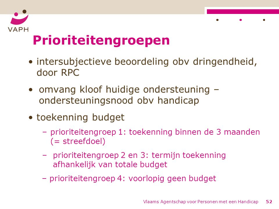 Prioriteitengroepen intersubjectieve beoordeling obv dringendheid, door RPC. omvang kloof huidige ondersteuning – ondersteuningsnood obv handicap.