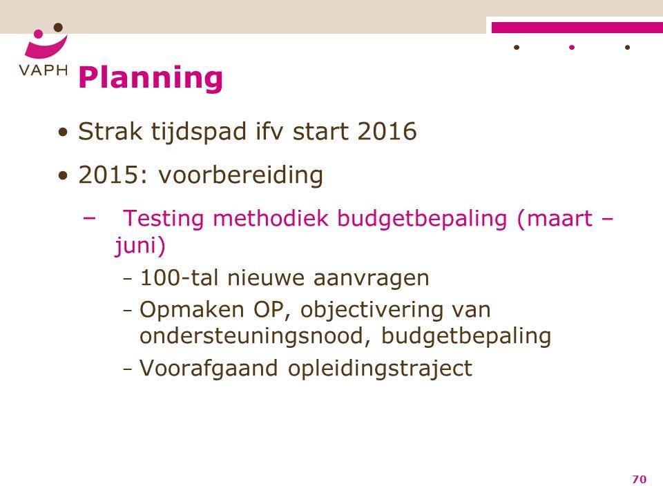 Planning Strak tijdspad ifv start 2016 2015: voorbereiding