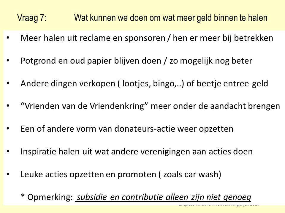 Vraag 7: Wat kunnen we doen om wat meer geld binnen te halen