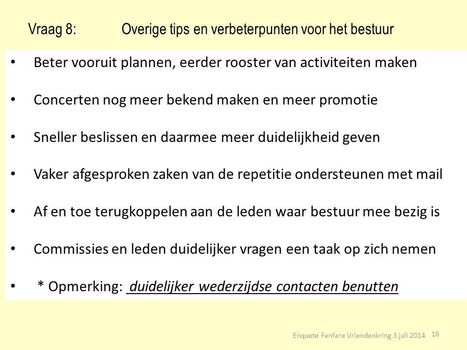 Vraag 8: Overige tips en verbeterpunten voor het bestuur
