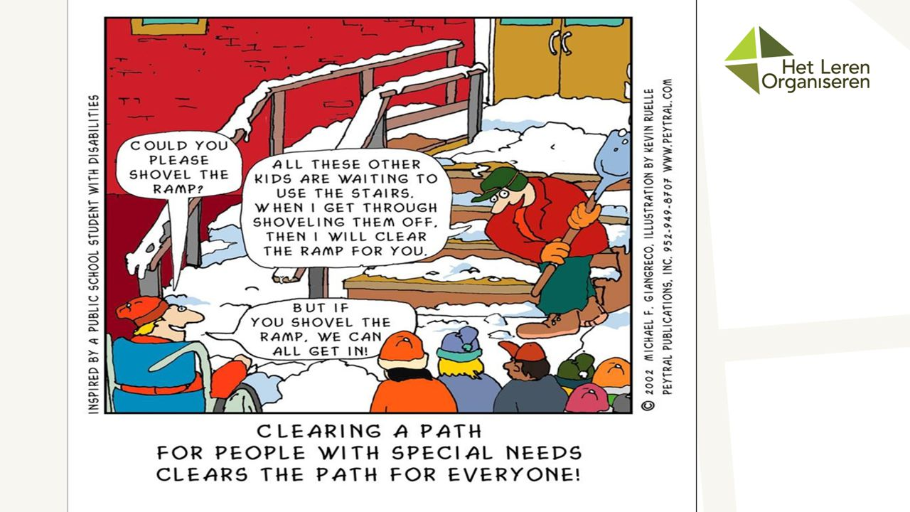 We use this cartoon often to demonstrate what we mean by Universal Design.