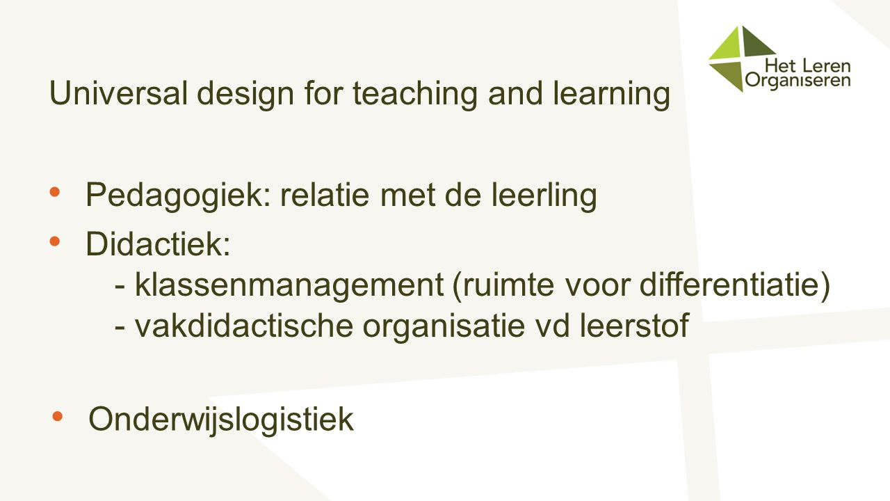 Universal design for teaching and learning