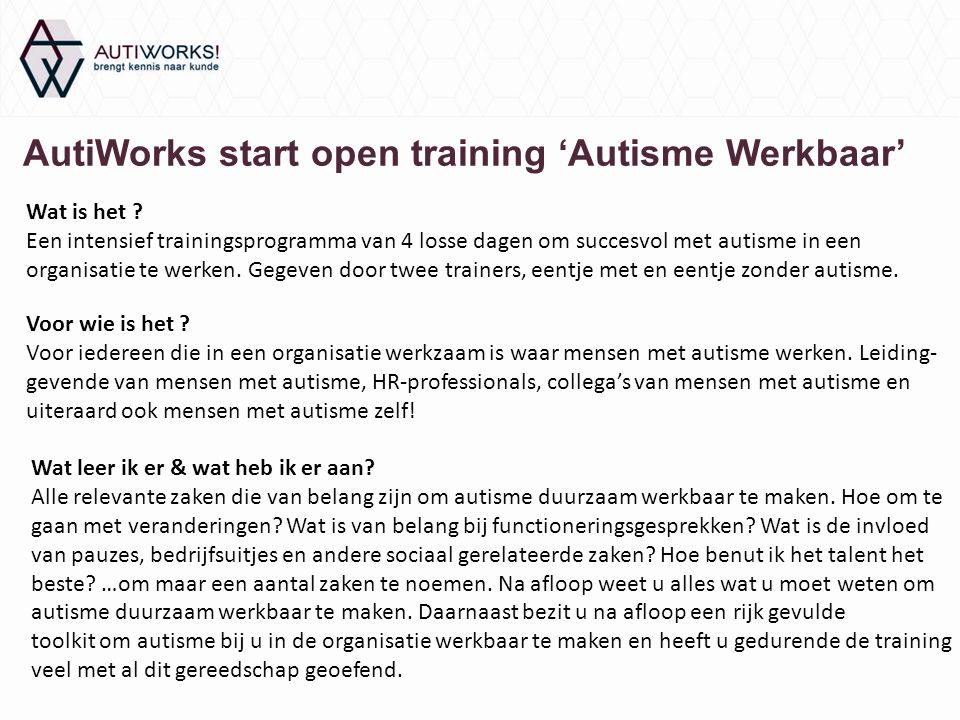AutiWorks start open training 'Autisme Werkbaar'