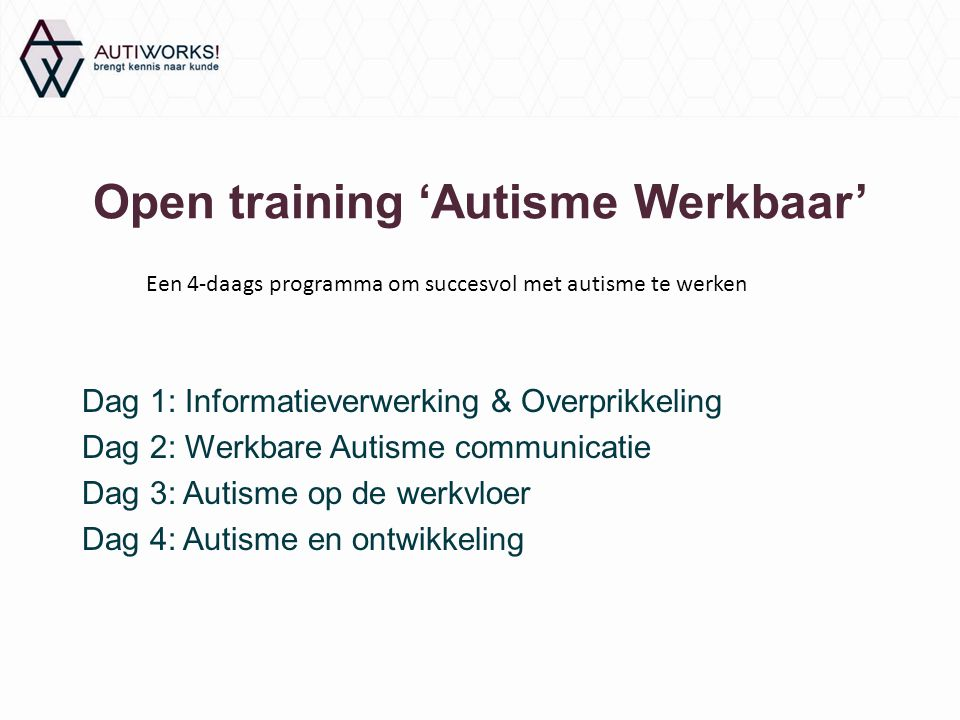 Open training 'Autisme Werkbaar'