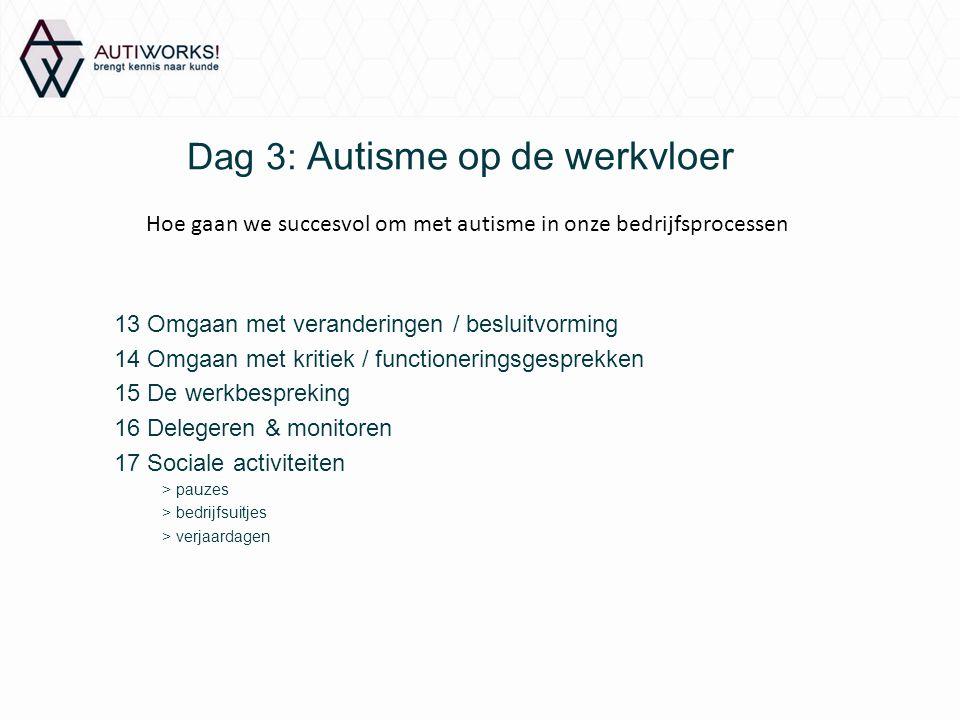Dag 3: Autisme op de werkvloer