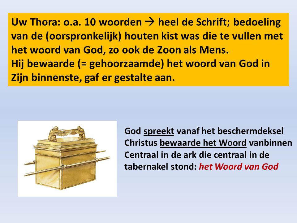 Uw Thora: o.a. 10 woorden  heel de Schrift; bedoeling van de (oorspronkelijk) houten kist was die te vullen met het woord van God, zo ook de Zoon als Mens. Hij bewaarde (= gehoorzaamde) het woord van God in Zijn binnenste, gaf er gestalte aan.