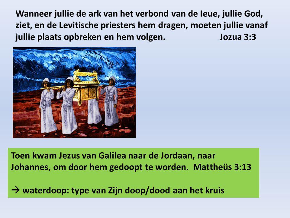 Wanneer jullie de ark van het verbond van de Ieue, jullie God, ziet, en de Levitische priesters hem dragen, moeten jullie vanaf jullie plaats opbreken en hem volgen. Jozua 3:3