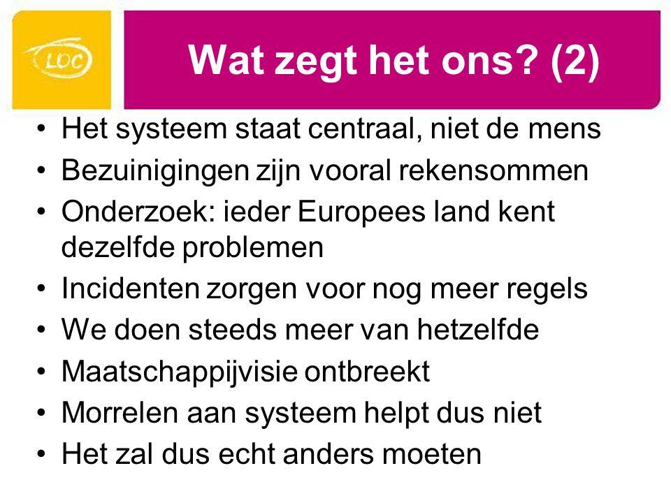 Wat zegt het ons (2) Het systeem staat centraal, niet de mens