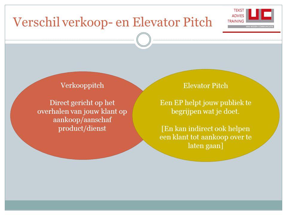 Verschil verkoop- en Elevator Pitch