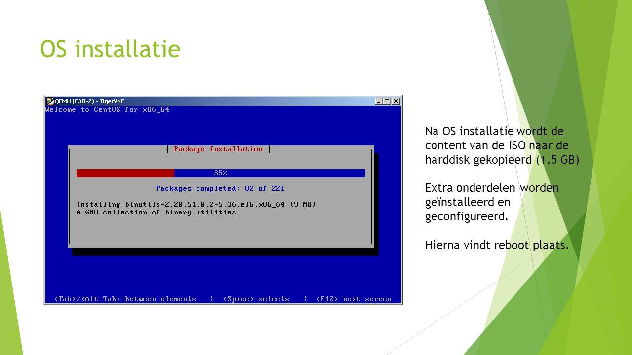 OS installatie Na OS installatie wordt de content van de ISO naar de harddisk gekopieerd (1,5 GB)