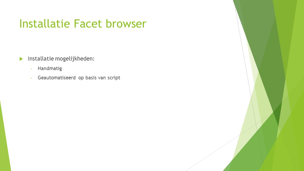 Installatie Facet browser