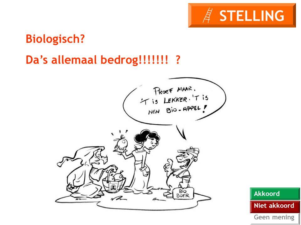 Biologisch Da's allemaal bedrog!!!!!!! Akkoord Niet akkoord