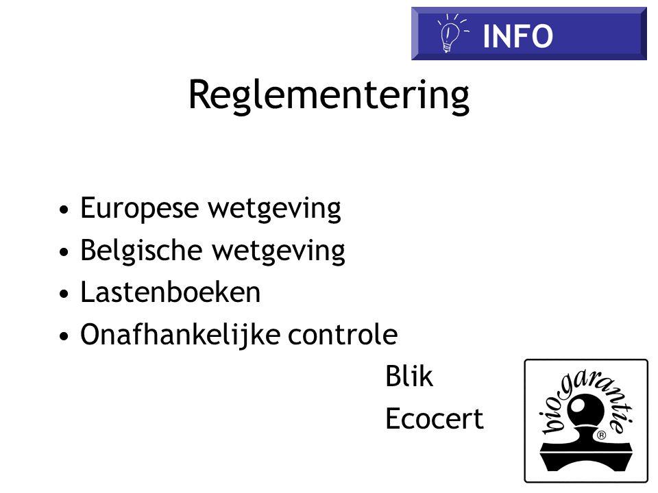 Reglementering • Europese wetgeving • Belgische wetgeving