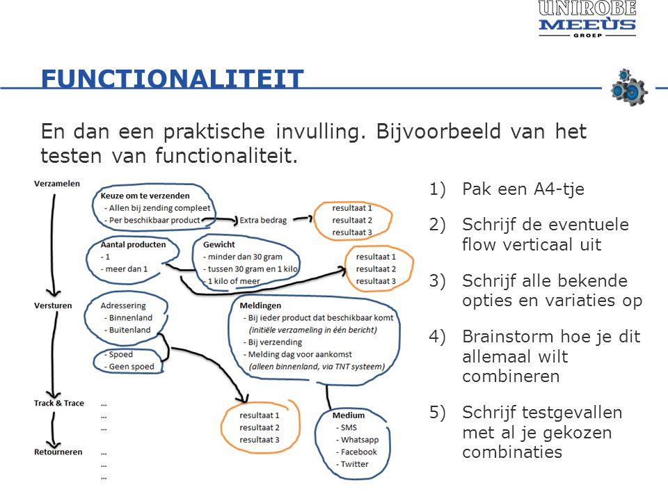 FUNCTIONALITEIT En dan een praktische invulling. Bijvoorbeeld van het testen van functionaliteit.