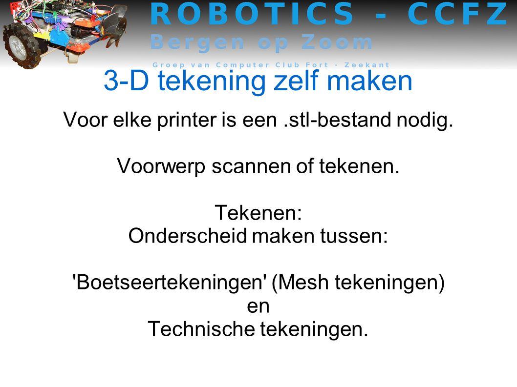 3-D tekening zelf maken Voor elke printer is een .stl-bestand nodig.