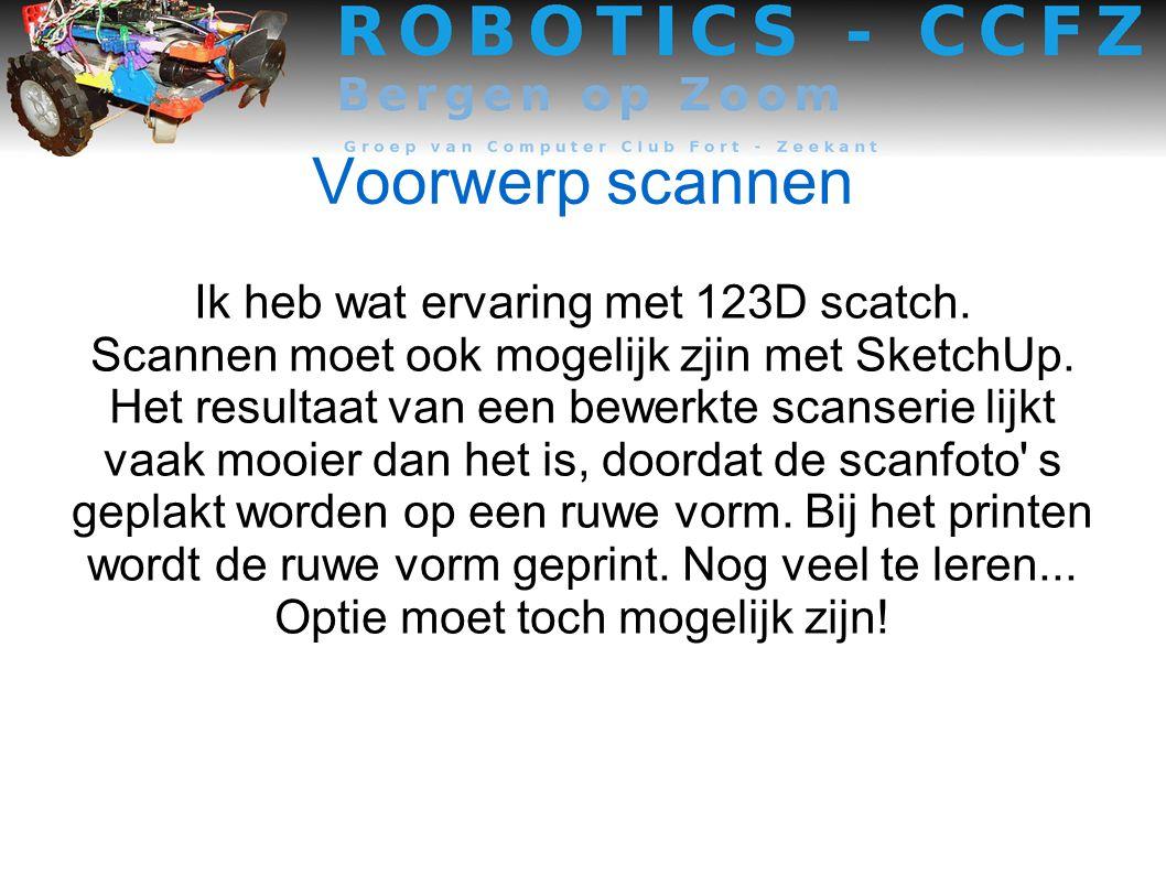 Voorwerp scannen Ik heb wat ervaring met 123D scatch.