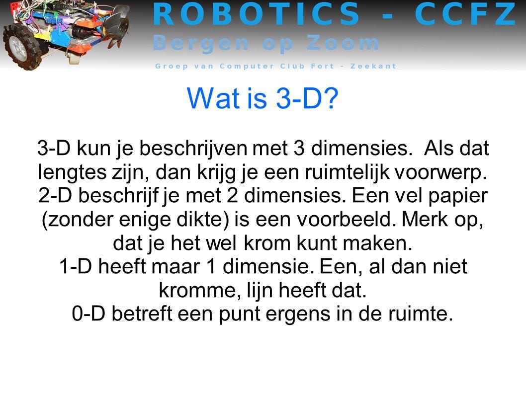 Wat is 3-D 3-D kun je beschrijven met 3 dimensies. Als dat lengtes zijn, dan krijg je een ruimtelijk voorwerp.