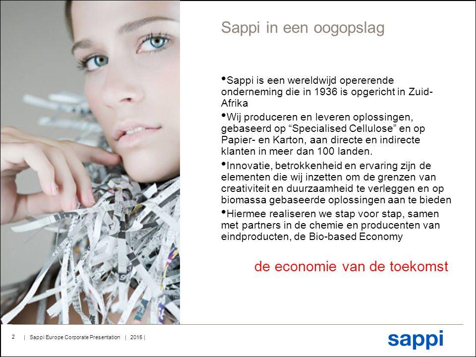 Sappi in een oogopslag Sappi is een wereldwijd opererende onderneming die in 1936 is opgericht in Zuid-Afrika.