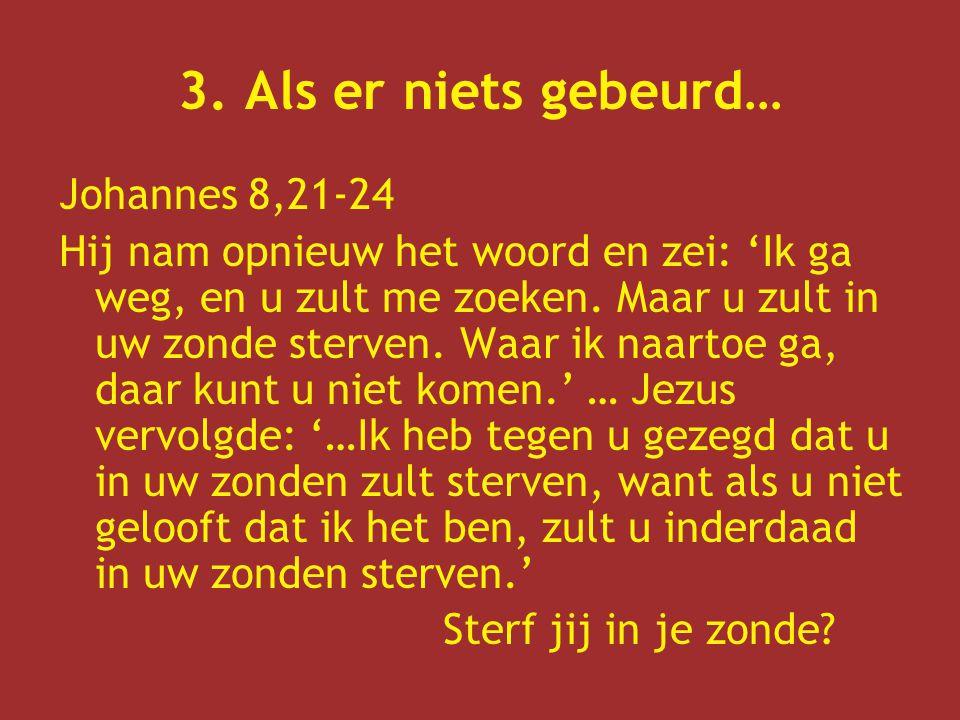 3. Als er niets gebeurd… Johannes 8,21-24