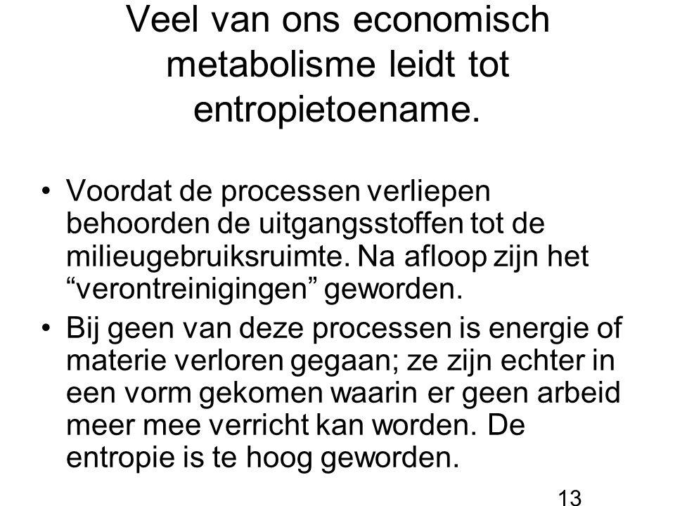 Veel van ons economisch metabolisme leidt tot entropietoename.