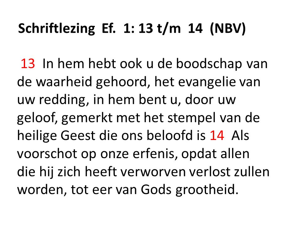 Schriftlezing Ef. 1: 13 t/m 14 (NBV)