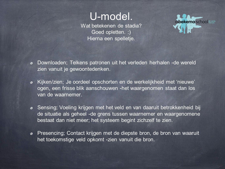 U-model. Wat betekenen de stadia. Goed opletten