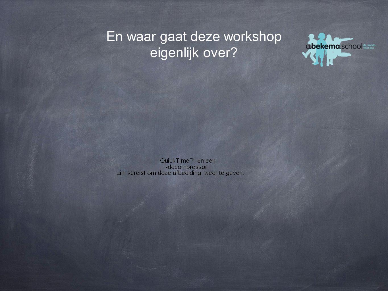 En waar gaat deze workshop eigenlijk over