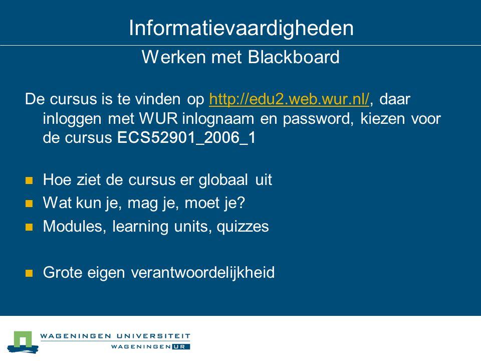 Informatievaardigheden Werken met Blackboard