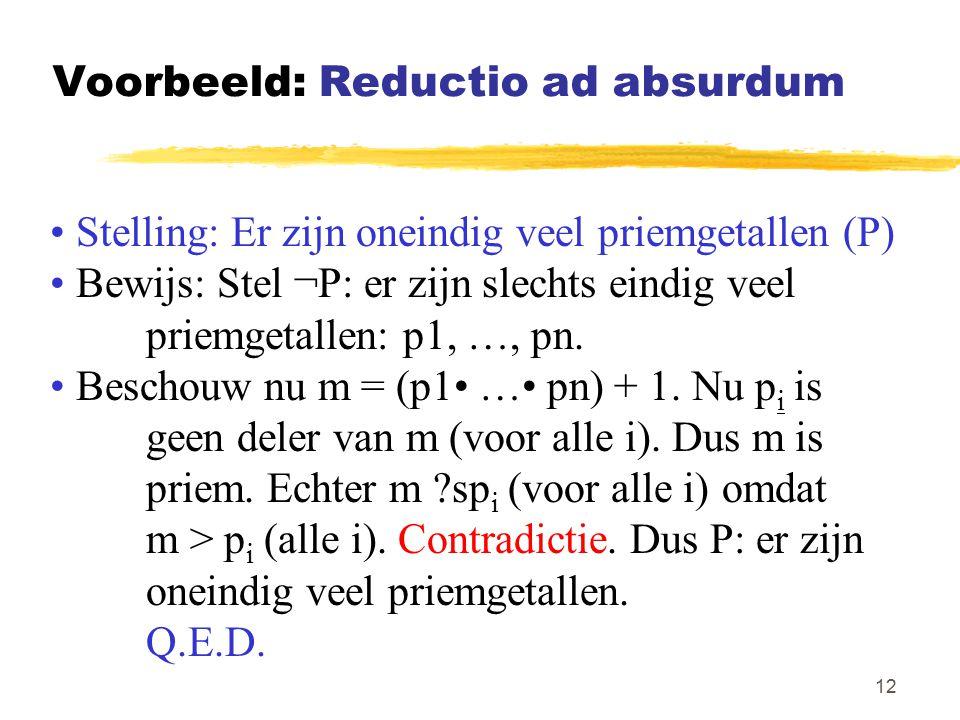 Voorbeeld: Reductio ad absurdum
