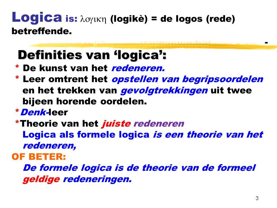 Logica is: logikh (logikè) = de logos (rede) betreffende