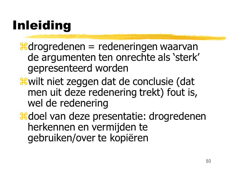 Inleiding drogredenen = redeneringen waarvan de argumenten ten onrechte als 'sterk' gepresenteerd worden.