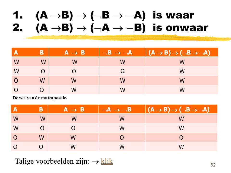 1. (A B)  (B  A) is waar 2. (A B)  (A  B) is onwaar