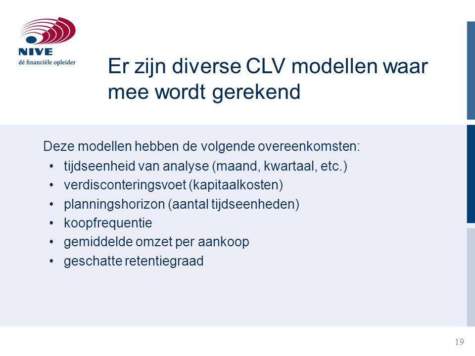 Er zijn diverse CLV modellen waar mee wordt gerekend