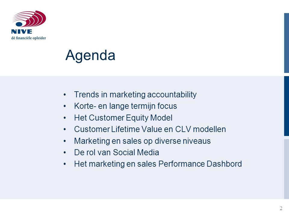 Agenda Trends in marketing accountability