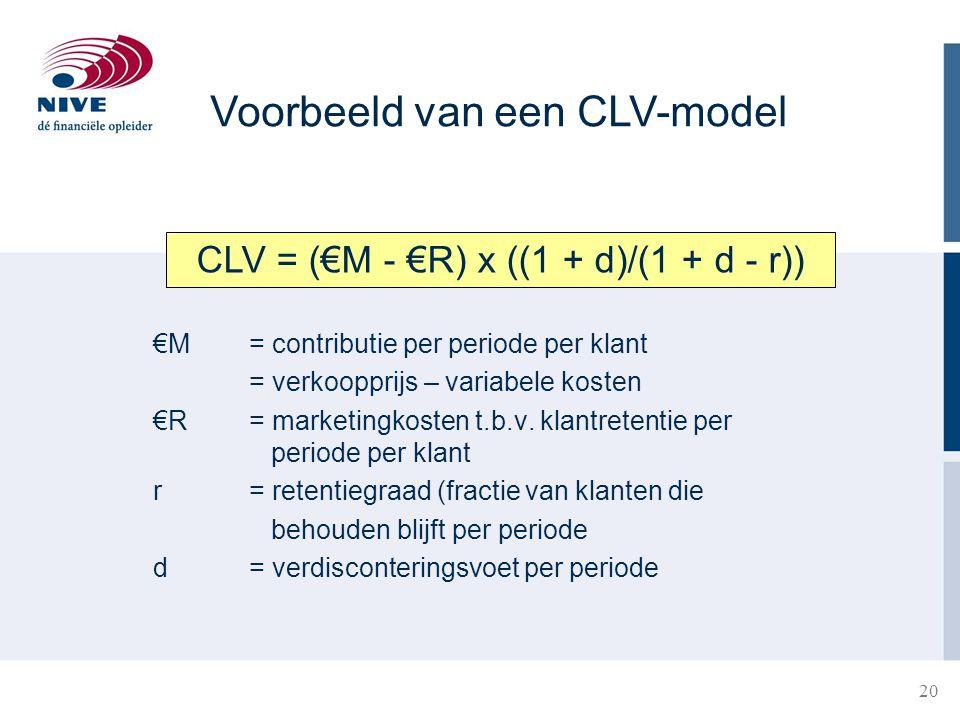 CLV = (€M - €R) x ((1 + d)/(1 + d - r))