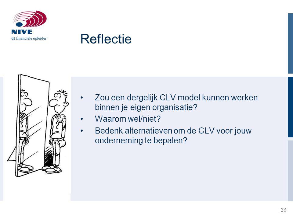 Reflectie Zou een dergelijk CLV model kunnen werken binnen je eigen organisatie Waarom wel/niet