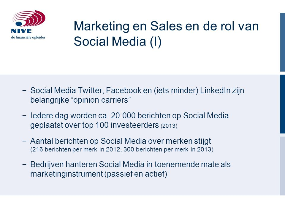 Marketing en Sales en de rol van Social Media (I)