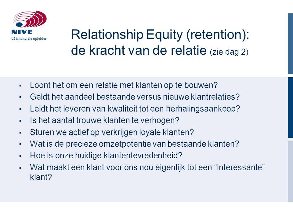 Relationship Equity (retention): de kracht van de relatie (zie dag 2)