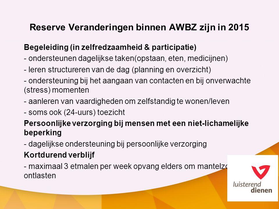 Reserve Veranderingen binnen AWBZ zijn in 2015