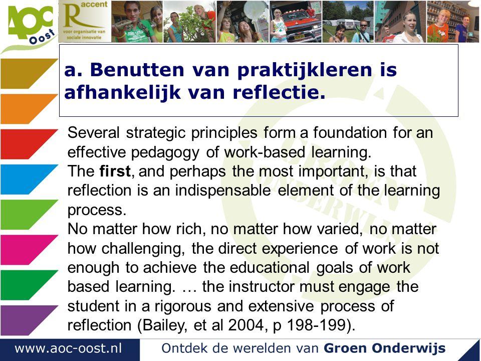 a. Benutten van praktijkleren is afhankelijk van reflectie.