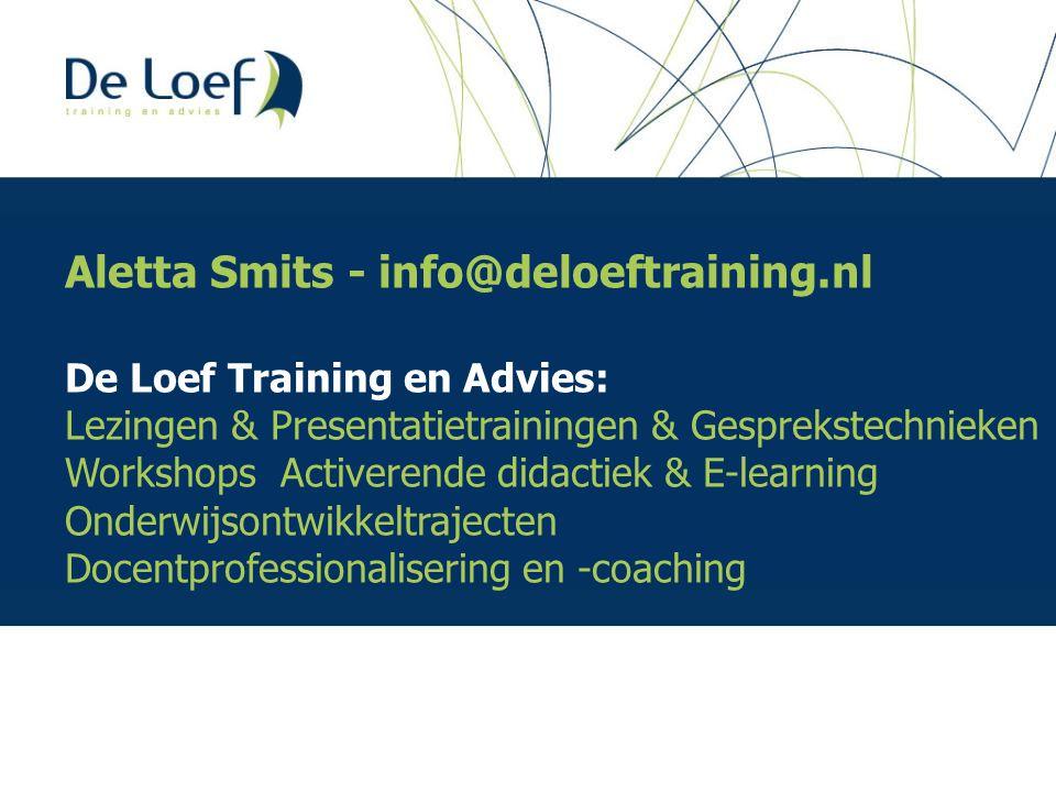 Aletta Smits - info@deloeftraining